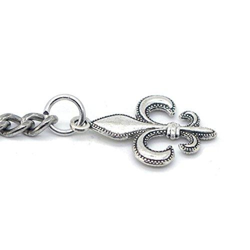 Albert Chain Pocket Watch Curb Link Chain Antique Silver Color Fleur-de-lis Emblem Fob T Bar AC49 by watchvshop (Image #6)