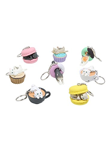 Clever Idiots Cafe du Meow Dessert Cat Keychains - Includes All 8 Collectable Figurines - Features a Detachable Keyring - Authentic Japanese Design - Durable Plastic by CLEVER IDIOTS INC