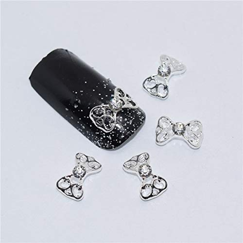 Alloy Nail Charms, Nail Art Rhinestones, 10PCS Silver Bow 3D Nail Decorations,Alloy Nail Charms,Nails Rhinestones Nail Supplies - 08