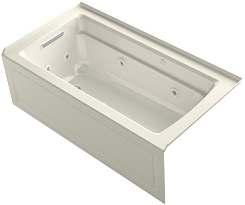 KOHLER K-1122-XHGLA-96 Archer 60-Inch x 32-Inch Alcove Whirlpool Bubble Massage Air Bath with Integral Apron, Tile Flange and Left-Hand Drain, Biscuit ()