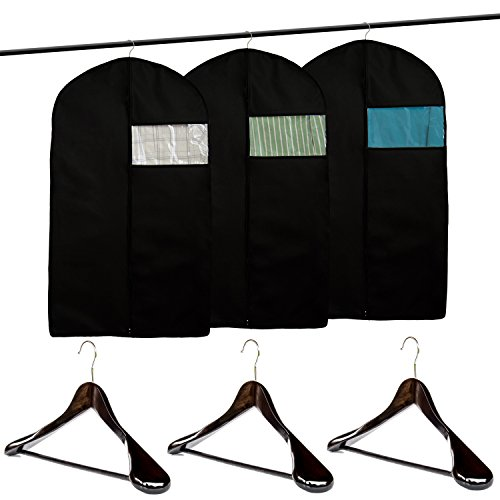Clutter Mate (Set of 3) Garment Bag Covers for Suits and Wood Suit Hangers