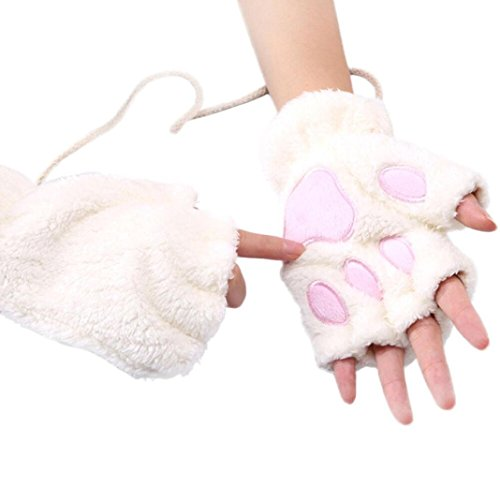 TAORE Women Bear Plush Kitty Cat Paw Knitted Fingerless Velvet Mitten Soft Winter Gloves (White) - White Kitty Paws