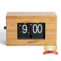 Bamboo Flip Clock, Home Décor Desk Clock, Modern Mini Clock, Retro Auto Flip Down Clock, Battery Powered, Digital Clocks for Living Room Décor (Natural Bamboo)
