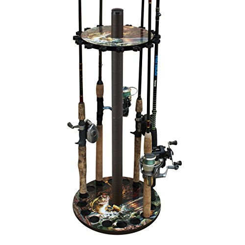 Rush Creek Creations Round 16 Fishing Rod Storage Rack - Features Full Color Bass Graphic - No Tool Assembly