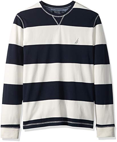 Rugby Stripe Crewneck Sweater - Nautica Men's Crew Neck Striped Long Sleeve Shirt, Marshmallow, XX-Large