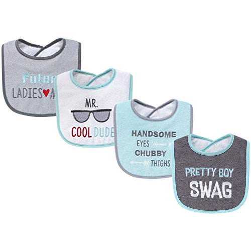 Hudson Baby Baby Drooler Bib 4 Pack-Pretty Boy Swag, One - Swag One