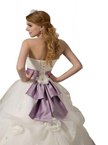 Schleppe Tüll Drapiert Ausschnitt Kleidungen Dearta Herz Hof Ballkleid Mit Blumen Weiß Handgemachte Damen YpqWCwH