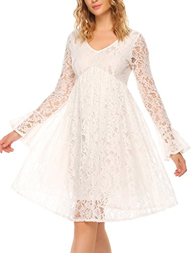 SE MIU Women's Vintage Long Sleeve Floral Lace Cocktail Party Pleated Swing Dress