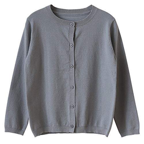 CUNYI Little Girl's Crewneck Button-up Cotton Cardigan Knit Sweater Casual Outerwear, Dark Gray, 8~9 Years/140