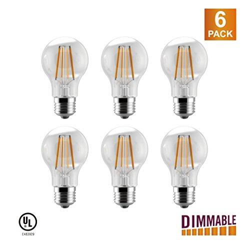 LUNO A19 Dimmalbe Filament LED Bulb, 6.5W(60W Equivalent), 800 Lumens, 2700K (Soft White), Medium Base (E26), UL Certified (6-Pack)