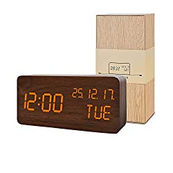 BlaCOG Wooden Alarm Clock with 3 Levels Adjustable Brightness Voice Control Small Digital Desk Alarm Clock with Day/Date/Temperature USB/Battery Powered for Home Brown/Orange