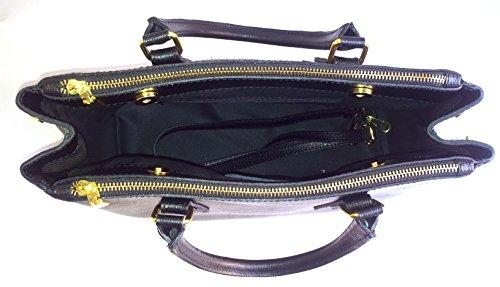 In Made Modello Pelle Borsa Scomparto Superflybags Vera Lavorazione Vitello Saffiano Nero Gina Triplo Italy AP15nqx