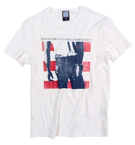 Amplified White Bruce Springsteen Born in The USA T Shirt from 80s Music Tees