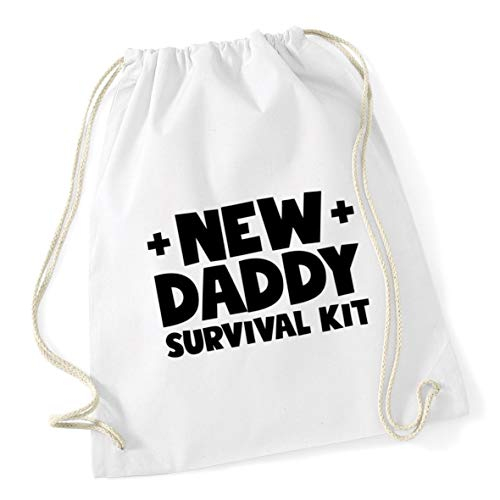 School New 12 x 46cm Gym Cotton daddy survival Bag kit litres 37cm White Hippowarehouse Drawstring wYxATqn4Td