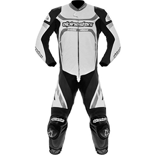 - Alpinestars Motegi Men's 1-Piece Leather On-Road Racing Motorcycle Race Suits - White/Black/Size 48