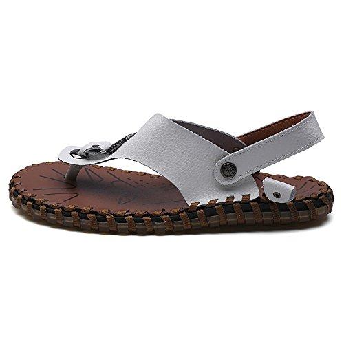 piatti Antiscivolo 43 vera Scarpe Infradito Scarpe uomo dimensione spiaggia da morbidi uomo White EU estivi pelle Colore manuale Pantofole da Infradito in casual da Lavoro Sandali White SPqPZA