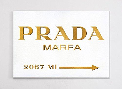 Fashion wall pop art print - Illustration - Prada Marfa with Gold - Chic Glam
