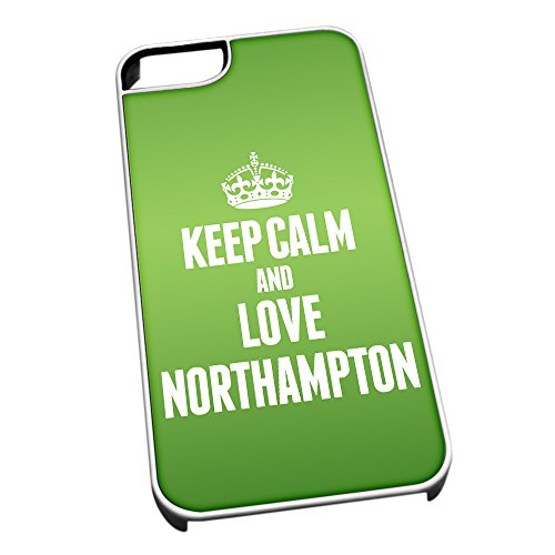 Bianco cover per iPhone 5/5S 0462 verde Keep Calm and Love Northampton