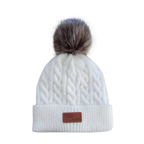 Vovotrade Adorable Cute Baby Beanie Hats for Boys Girls Cap Cotton Letter Knitted Ball Warm Children Hats (White) - Letters Only Ball Cap