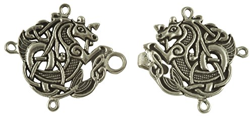 - Celtic Seahorse Cloak or Cape Clasp - Pewter