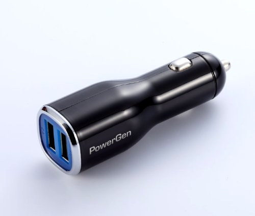 PowerGen 2.4Amps / 12W Dual USB Car charger Designed for Apple and Android Devices - Black