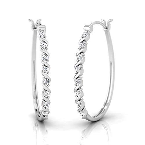 (IGI Certified 1/4 Carat Natural Diamond Sterling Silver Dainty Hoop Earrings for Women (J-K Color, I2-I3 Clarity) )