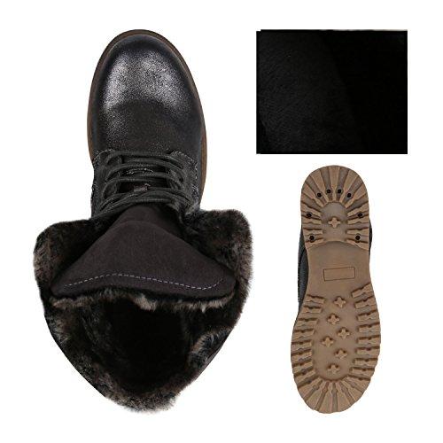 Damen Schuhe Worker Boots Warm gefüttert mit Blockabsatz Flandell Grau Camargo
