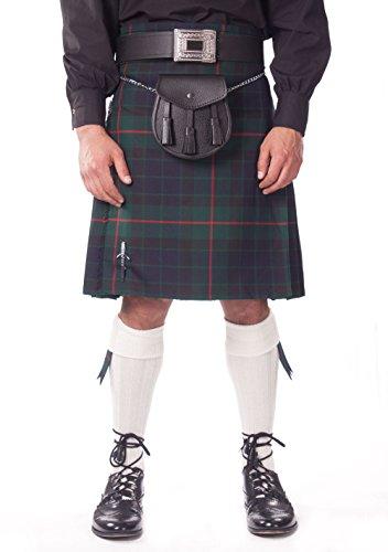 Kilt Society Mens 7 Piece Casual Kilt Outfit- Gunn Tartan with White Hose 46'' to 50'' by Kilt Society