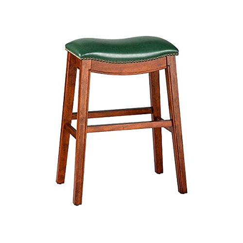 Dark Forest Green 30'' Backless Bar Stool Premium Wood Finish Faux Leather Seat Saddle Stool Nailhead Accents by Home Improvements