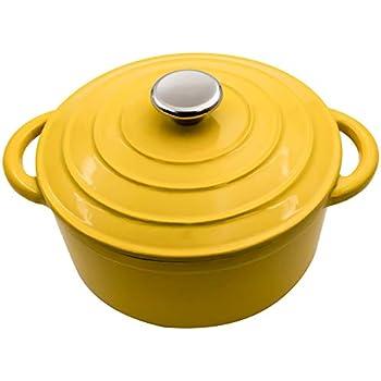 3-Quart Enameled Dutch Oven Yellow - Ceramic Strew Pots, Bread Baking Vessels