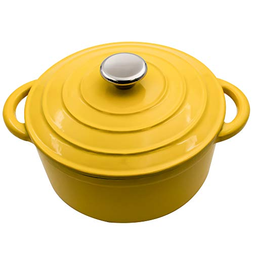 3-Quart Enameled Dutch Oven Yellow - Ceramic Strew Pots, Bread Baking Vessels ()