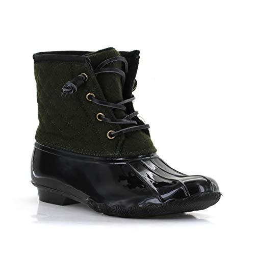 Seven7 Women's Goose Emboss Wool Rain Boot Duck Booties Two-Tone Olive 9