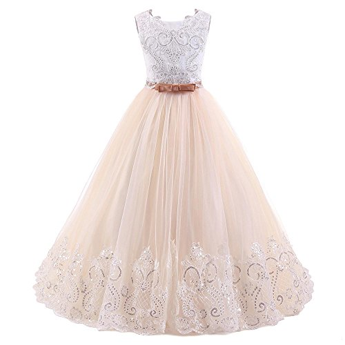 SIXIANG European and American Children's Wedding Dresses Sequins Bubble Skirt Lace Flower Girl Dress -