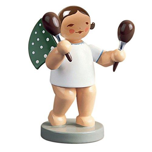 - Wendt & Kuhn Brunette Hand Painted Grunhainichen Angel Maraca Figurine