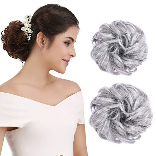 REECHO Women's Thick 2PCS Hair Scrunchies Made of Hair Curly Wavy Updo Hair Bun Extensions Messy Hairpieces - Silver Gray