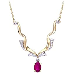 Revoni 9K Yellow Gold Ruby and Diamond Necklace