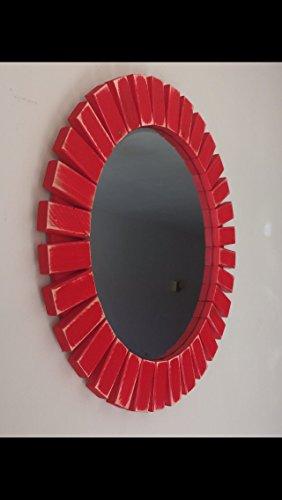 Sunburst Wall Mirror Round Wood Frame Red 22'' (Mirror Red With Frame)