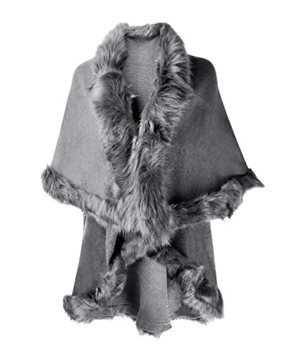 ZLYC ストール カーディガン ファー レディース 軽い 無地 振袖用 着物 ドレス用 大判 ラグジュアリー 防寒 秋冬