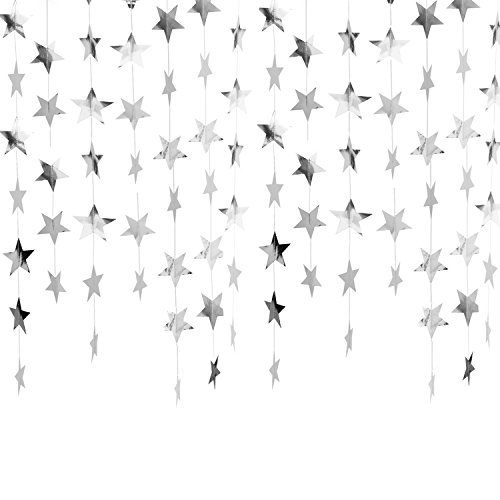 Whaline 52 Feet Reflective Star Paper Garland Sparkling Star Bunting Banner for Wedding Birthday Party Holiday Decorations, 2.75 inches (Silver)