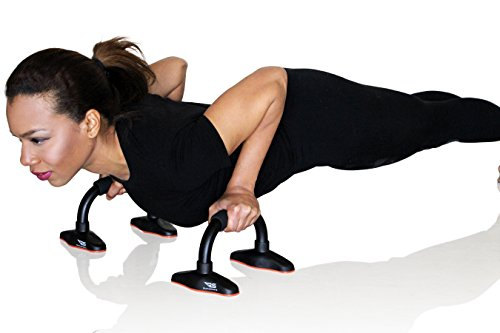 Pushup Stand - Best exercise total workout equipment for men and women. Made with well constructed tubular steel with comfortable foam grips. Lightweight, portable and very durable for that perfect push up guarantee. No home gym, total gym, p90x or T25 needed. Push Up Bar- By Rush Sports