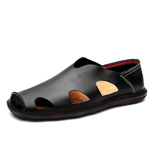 EnllerviiD Men Closed Toe Sandals Leather Outdoor Fisherman Sandals Slip-on Beach Shoes 017 Black WmcF2761A2