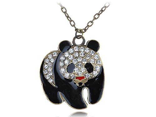 Alilang Womens Antique Gold Tone Clear Rhinestones Giant Baby Panda Bear Pendant Necklace