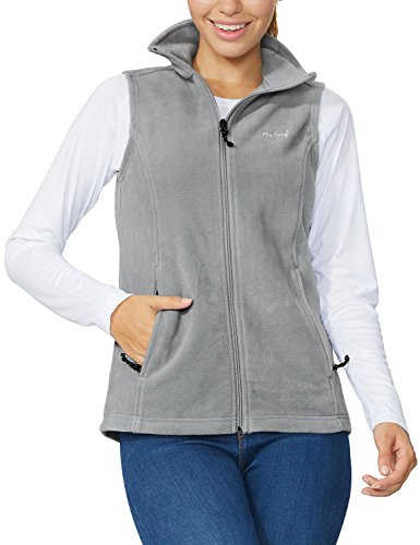 Baleaf Women's Full Zip Fleece Vest Sleeveless Jacket Zipper Pockets Gray L