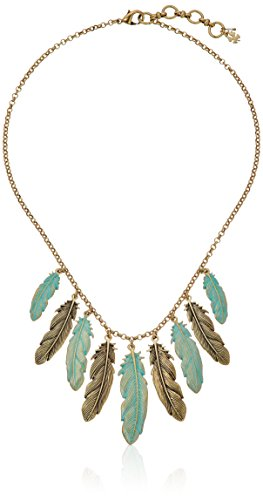 Lucky Brand Patina Feather Collar Necklace, 18