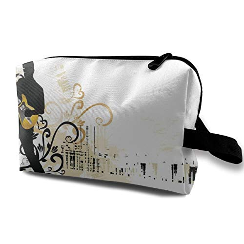 Guitar Art Cosmetic Bags Makeup Organizer Bag Pouch Zipper Purse Handbag Clutch Bag]()