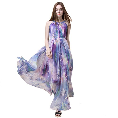 Chicwish Women's Flower Watercolor Violet Purple Maxi Slip Floral Chiffon (Water Color Dress)