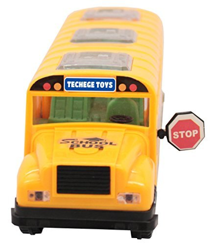 Bright Yellow Toy School Bus, Light & Music, Bump & Go Feature by YMCtoys