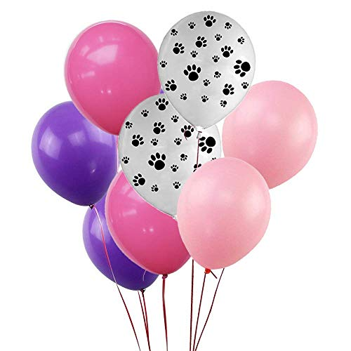 Paw Party Balloons 50 Count Dark Purple Rose Red Soft Pink Latex Balloons With Paw balloons for Paw Patrol Theme Party