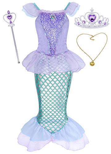 (HenzWorld Little Mermaid Ariel Costume Dress Accessories Girls Birthday Party Cosplay Clothes Set)