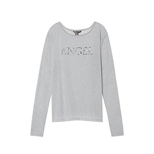 Victoria's Secret Pajama Top Sleep T-Shirt Long Sleeves Sequin Angel Grey L
